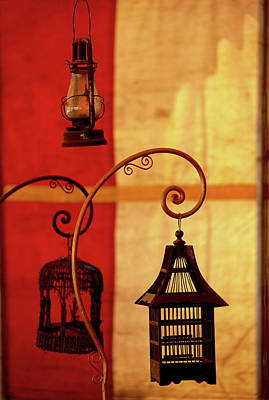 Color Block Photograph - Antique Lanterns by Glennis Siverson