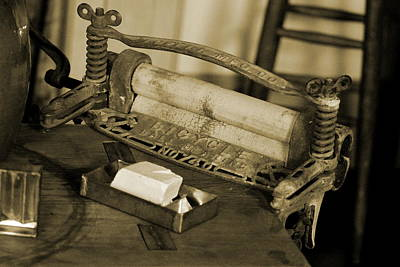 Photograph - Antique Laundry Ringer And Handmade Lye Soap In Sepia by Colleen Cornelius