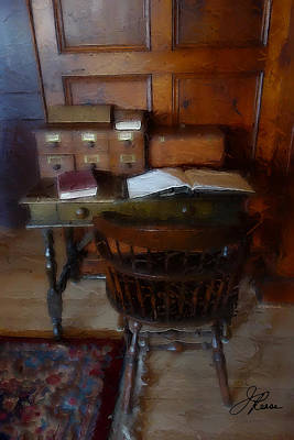 Painting - Antique Library Desk by Joan Reese