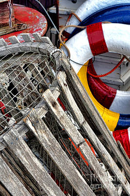 Antique Lobster Trap And Lifebuoys Art Print