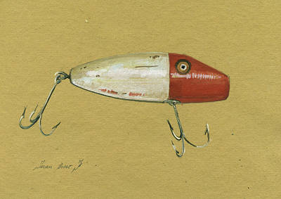 Trout Wall Art - Painting - Antique Lure Bait by Juan Bosco