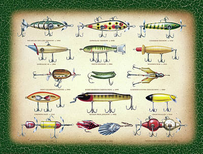Antique Lures Green Crackle Art Print by JQ Licensing