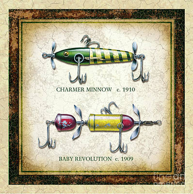 Antique Lures Panel 1 Art Print by Jon Wright