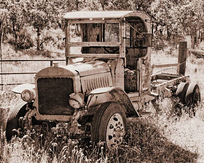 Photograph - Antique Mack Truck Sepia by David King