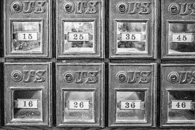 Photograph - Antique Mailbox Black And White by Kathy Adams Clark