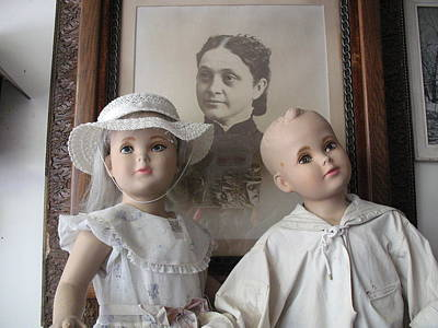Doll Photograph - Vintage Antique Male And Female Porcelain Doll Faces  by Kathy Fornal
