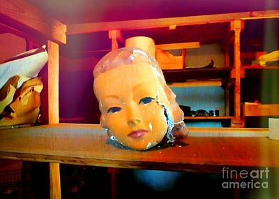 Photograph - Antique Mannequin Head In Old Storage Room by Renee Trenholm