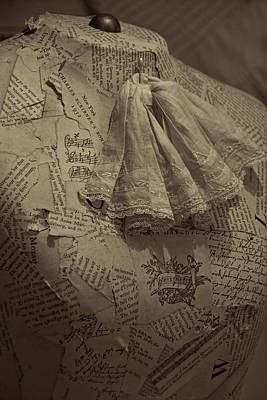 Magazine Letters Photograph - Antique Mannequin With Collage Of Vintage Papers by Mitch Spence