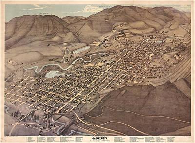 Antique Map - Aspen Colorado Art Print by Augustus Koch