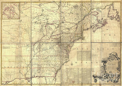 18th Century Mixed Media - Antique Map British French Dominions North America. 1757. by John Mitchell