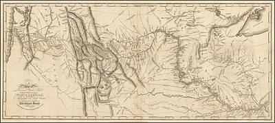Politicians Drawings - Antique Map - Lewis and Clarks Track Across North America by Meriwether Lewis and William Clark
