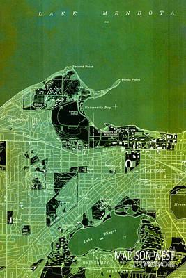 Antique Map, Madison City Art Print by Pablo Franchi