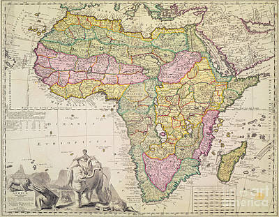 Crocodile Drawing - Antique Map Of Africa by Pieter Schenk