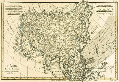 Russia Drawing - Antique Map Of Asia by Guillaume Raynal