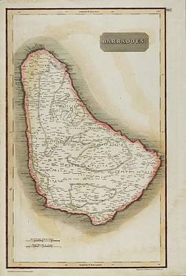 Painting - Antique Map Of Barbados From Thomson's New General Atlas by Celestial Images