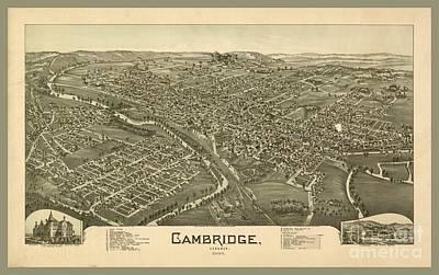 Cambridge Mixed Media - Antique Map Of Cambridge by Pd