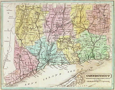 New England Drawing - Antique Map Of Connecticut by American School