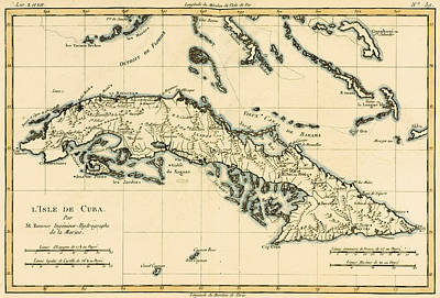 Chart Drawing - Antique Map Of Cuba by Guillaume Raynal
