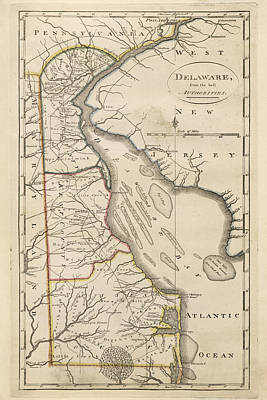 Art Print featuring the drawing Antique Map Of Delaware By Mathew Carey - 1814 by Blue Monocle