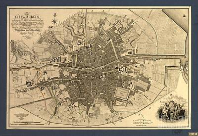 Painting - Antique Map Of Dublin Ireland  by Celestial Images