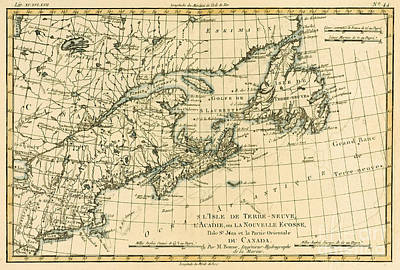 Nova Scotia Wall Art - Drawing - Antique Map Of Eastern Canada by Guillaume Raynal