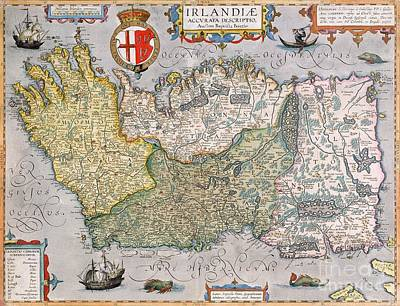 Cartography Drawing - Antique Map Of Ireland by  English School