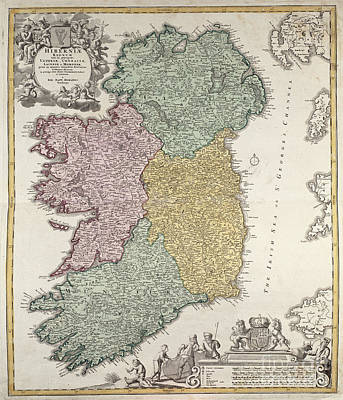 Cartography Drawing - Antique Map Of Ireland Showing The Provinces by Johann Baptist Homann