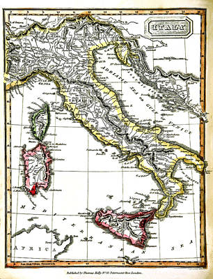Photograph - Antique Map Of Italy From 1820 by Phil Cardamone