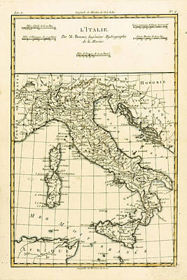Sea Drawing - Antique Map Of Italy by Guillaume Raynal