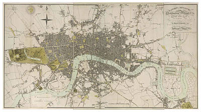 Drawing - Antique Map Of London - Old Cartographic Maps - London In Miniature, 1807 By Edward Mogg by Studio Grafiikka