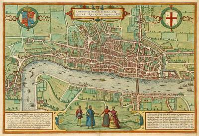 Painting - Antique Map Of London by Pg Reproductions