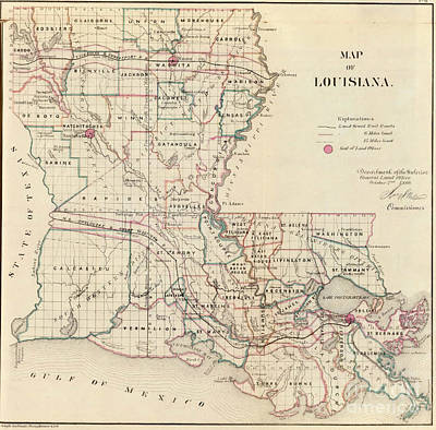 Antique Digital Art - Antique Map Of Louisiana by MotionAge Designs