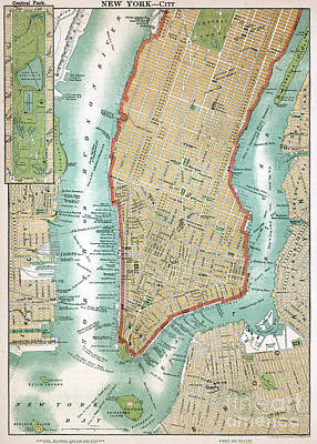 Antique Map Of Lower Manhattan And Central Park Art Print