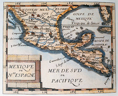 Chart Painting - Antique Map Of Mexico Or New Spain by French School