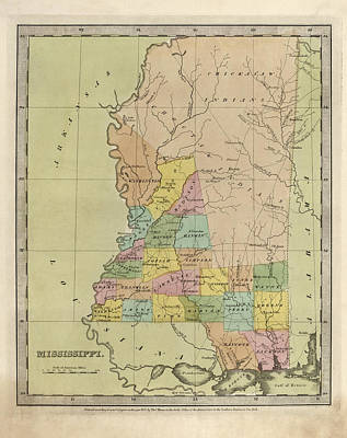 Mississippi Map Drawing - Antique Map Of Mississippi By David Burr - 1835 by Blue Monocle
