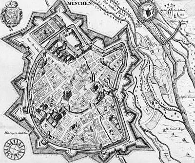 Antique Map Of Munich Art Print by German School