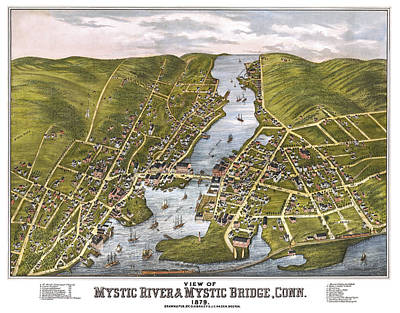 Photograph - Antique Map Of Mystic Connecticut by Phil Cardamone