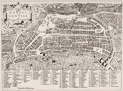 Antique Map Of Naples Art Print by Italian School