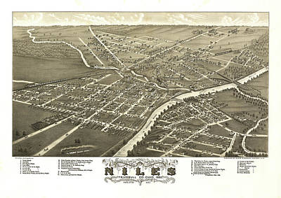 Plan View Drawing - Antique Map Of Niles Ohio 1882 by Mountain Dreams