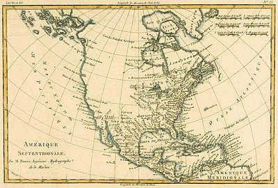 Charts Drawing - Antique Map Of North America by Guillaume Raynal