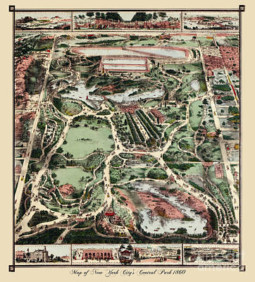 Old Map Painting - Antique Map Of Nyc Central Park From 1860 by Tina Lavoie