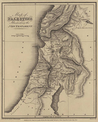 Holy Land Drawing - Antique Map Of Palestine by English School