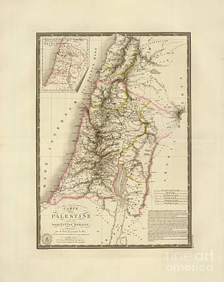 Antique Maps Painting - Antique Map Of Palestine by MotionAge Designs