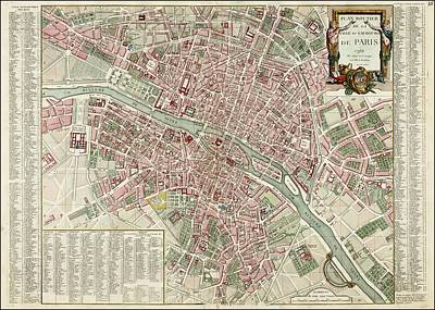 Antique Map Painting - Antique Map Of Paris, 1792 by Celestial Images
