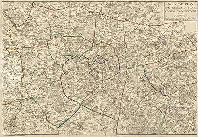 Drawing - Antique Map Of Paris France And Surroundings By Jacques Esnauts - 1811 by Blue Monocle