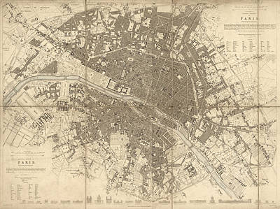 Drawing - Antique Map Of Paris France By The Society For The Diffusion Of Useful Knowledge - 1834 by Blue Monocle