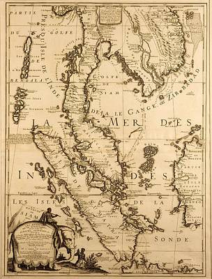Cambodia Drawing - Antique Map Of South East Asia by French School