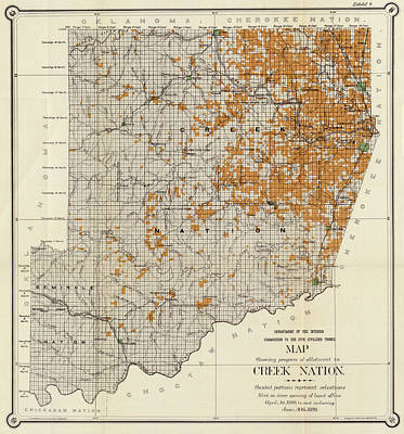 Oklahoma Drawing - Antique Map Of The Creek Nation 1889 by Mountain Dreams