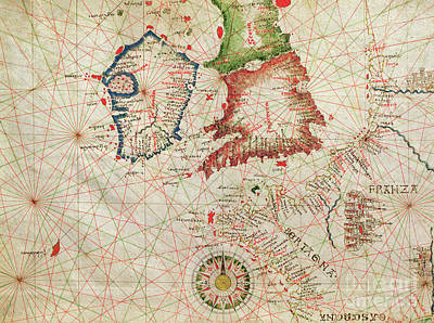 Antique Map Of The French Coast, England, Scotland And Ireland, From A Nautical Atlas, 1520  Art Print