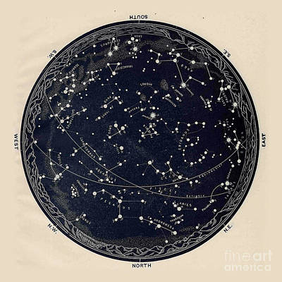 Satellite Drawing - Antique Map Of The Night Sky, 19th Century Astronomy by Tina Lavoie